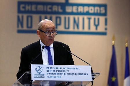FILE PHOTO - French Foreign Affairs Minister Jean-Yves Le Drian delivers a speech during a foreign ministers' meeting on the International Partnership against Impunity for the Use of Chemical Weapons, in Paris, France, January 23, 2018.  REUTERS/Philippe Wojazer