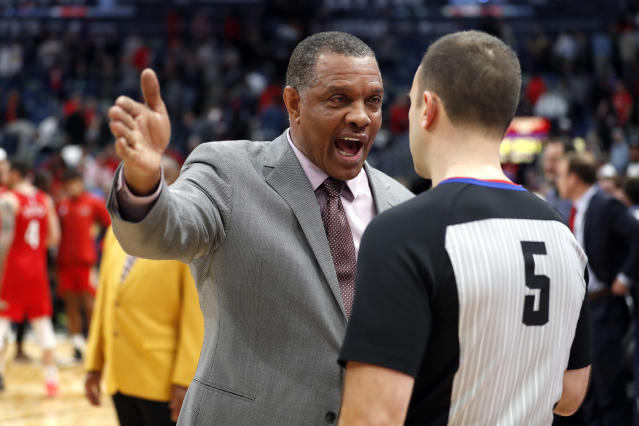 New Orleans Pelicans head coach Alvin Gentry, left, talks with official Kane Fitzgerald (5) after an NBA basketball game against the Utah Jazz in New Orleans, Monday, Jan. 6, 2020. (AP Photo/Tyler Kaufman)