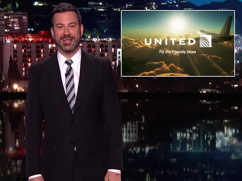 Damon, Kimmel make fun of United Airlines