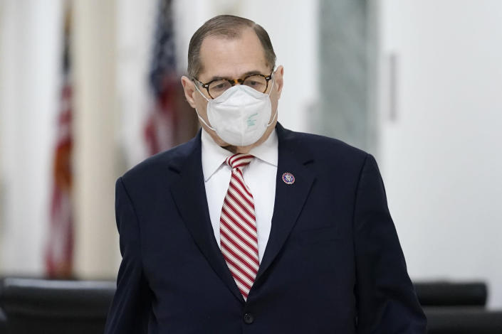 House Judiciary Committee Chair Jerrold Nadler, D-N.Y., arrives as the committee meets to question former White House counsel Don McGahn, on Capitol Hill in Washington, Friday, June 4, 2021. The committee will question McGahn behind closed doors on Friday, two years after House Democrats originally sought his testimony as part of investigations into former President Donald Trump. (AP Photo/J. Scott Applewhite)