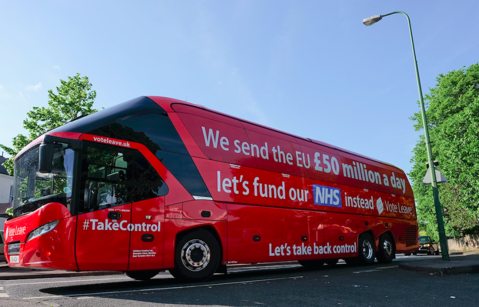 <em>The bus claimed that the UK sends £350 million a week to Brussels (Getty)</em>