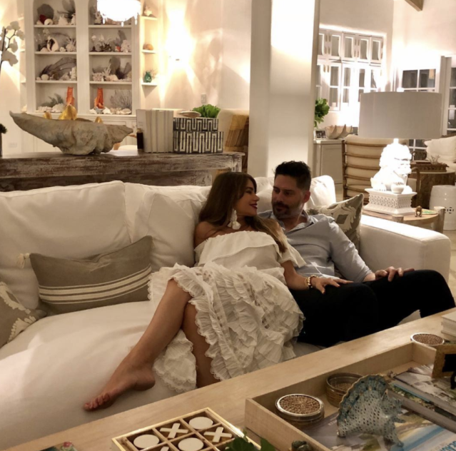 "<p>The <em>Modern Family</em> actress and her husband, Joe Manganiello, only had eyes for each other, as they cuddled up on a couch while on vacation in a tropical location Sofía referred to as ""Casa ChipiChipi."" (Photo: <a href=""https://www.instagram.com/p/BdrN8f3Az7L/?taken-by=sofiavergara"" rel=""nofollow noopener"" target=""_blank"" data-ylk=""slk:Sofía Vergara via Instagram"" class=""link rapid-noclick-resp"">Sofía Vergara via Instagram</a>) </p>"
