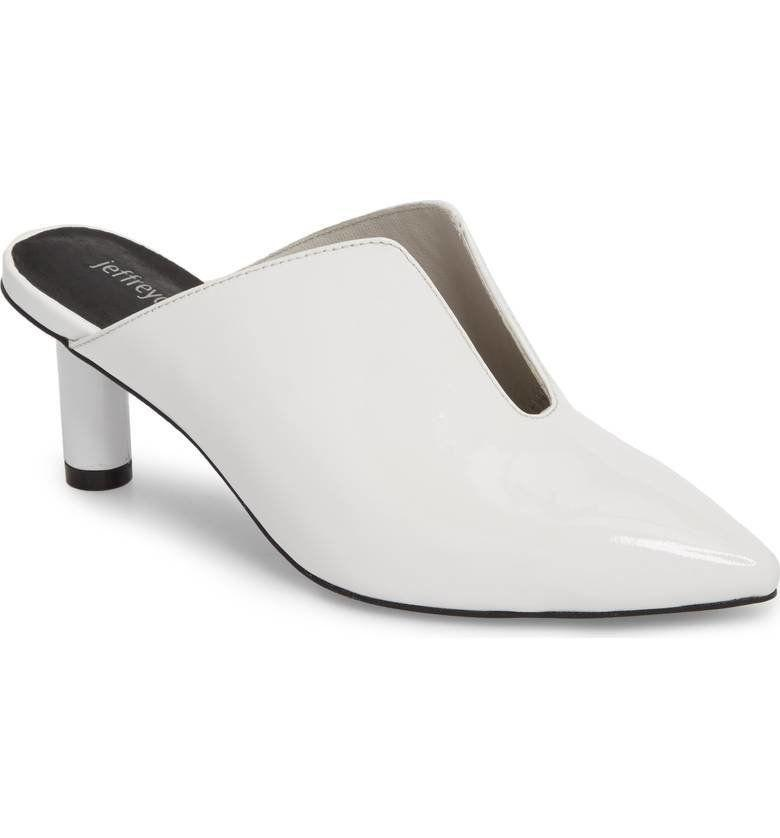 "Get them at <a href=""https://shop.nordstrom.com/s/jeffrey-campbell-saltaire-pointy-toe-mule-women/4834795?origin=keywordsearch-personalizedsort&fashioncolor=WHITE%20PATENT%20LEATHER"" target=""_blank"">Nordstrom</a> for $125."