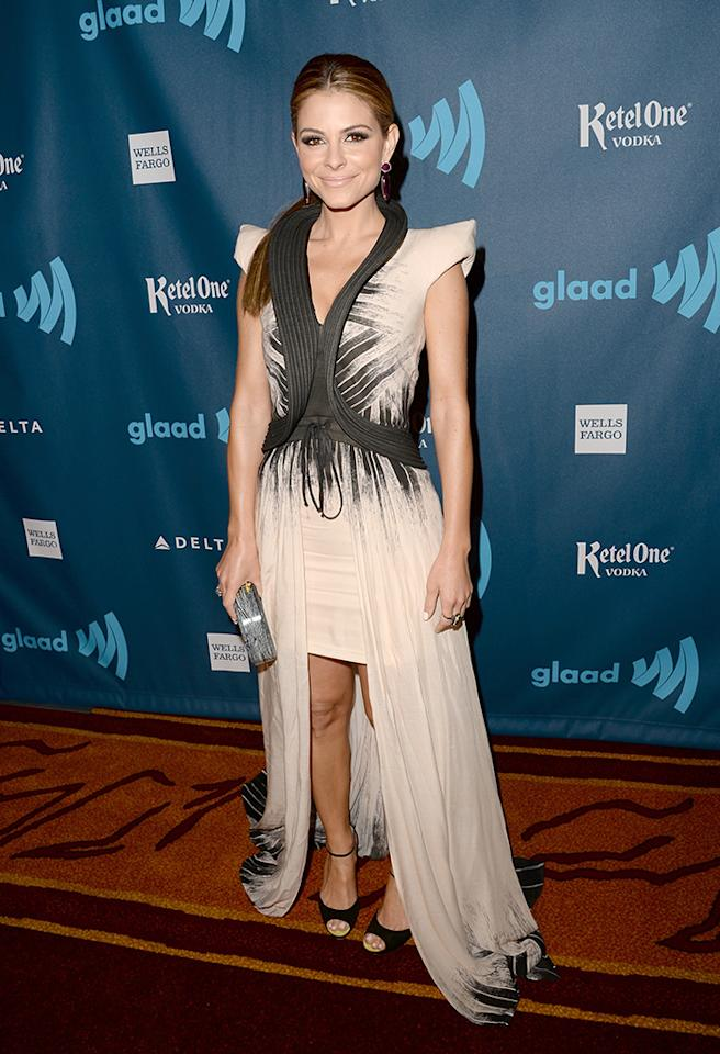 LOS ANGELES, CA - APRIL 20:  Actress Maria Menounos arrives at the 24th Annual GLAAD Media Awards presented by Ketel One and Wells Fargo at JW Marriott Los Angeles at L.A. LIVE on April 20, 2013 in Los Angeles, California.  (Photo by Jason Merritt/Getty Images for GLAAD)
