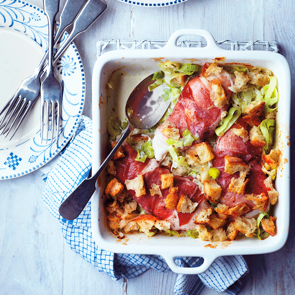 """<p>If you prefer, stuff the chicken breasts with the leek mixture (no need to add water) and wrap in Parma ham.</p><p><strong>Recipe: <a href=""""https://www.goodhousekeeping.com/uk/food/recipes/a568028/chicken-cheesy-leek-bake/"""" rel=""""nofollow noopener"""" target=""""_blank"""" data-ylk=""""slk:Chicken and Cheesy Leek Bake"""" class=""""link rapid-noclick-resp"""">Chicken and Cheesy Leek Bake</a></strong></p>"""
