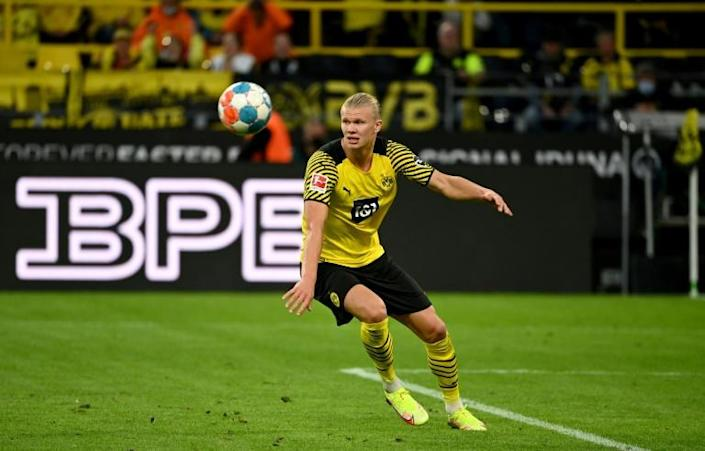 Erling Braut Haaland scored with a stunning lob in a two-goal haul for Dortmund on Sunday (AFP/Ina Fassbender)