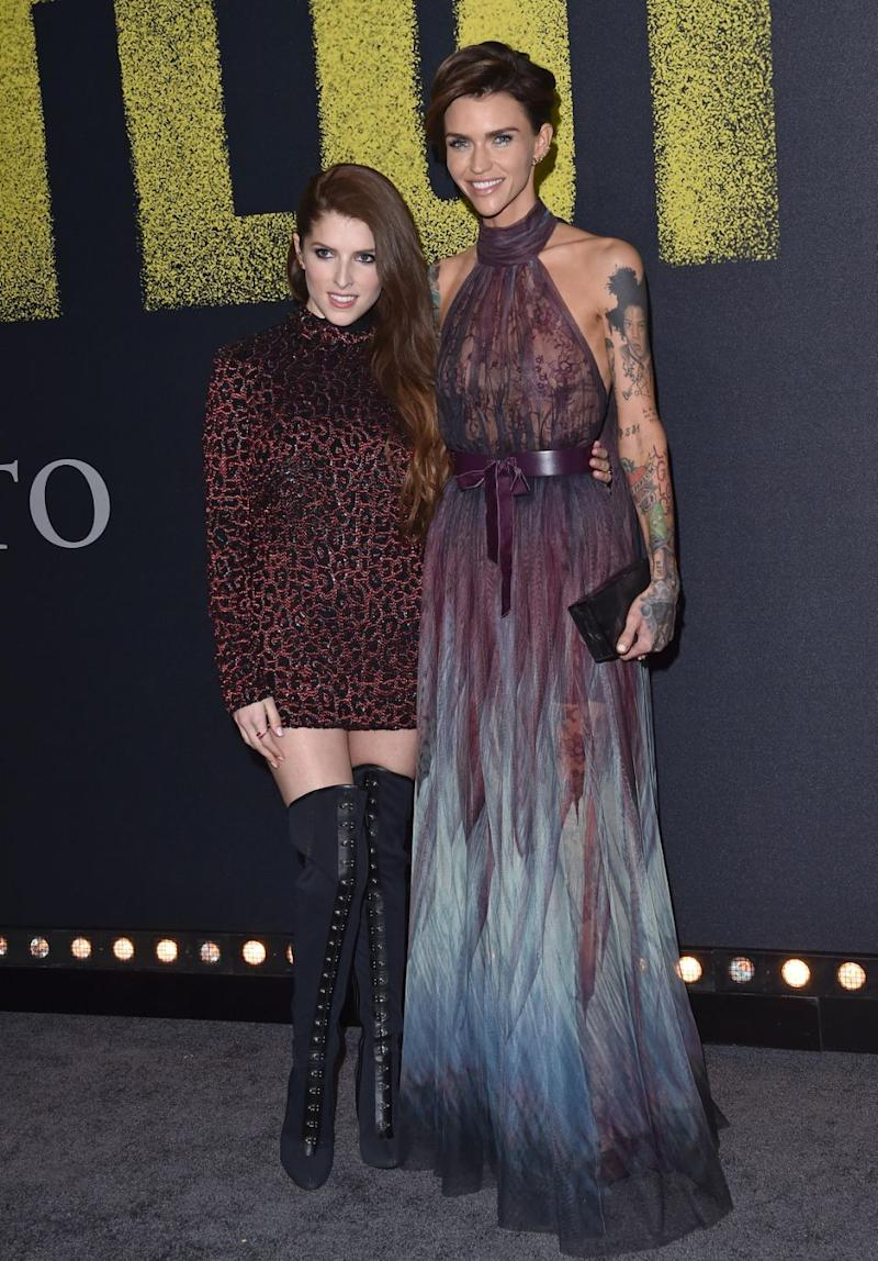 She was on the show to promote Pitch Perfect 3, seen here at the LA premiere with Ruby Rose. Source: Getty