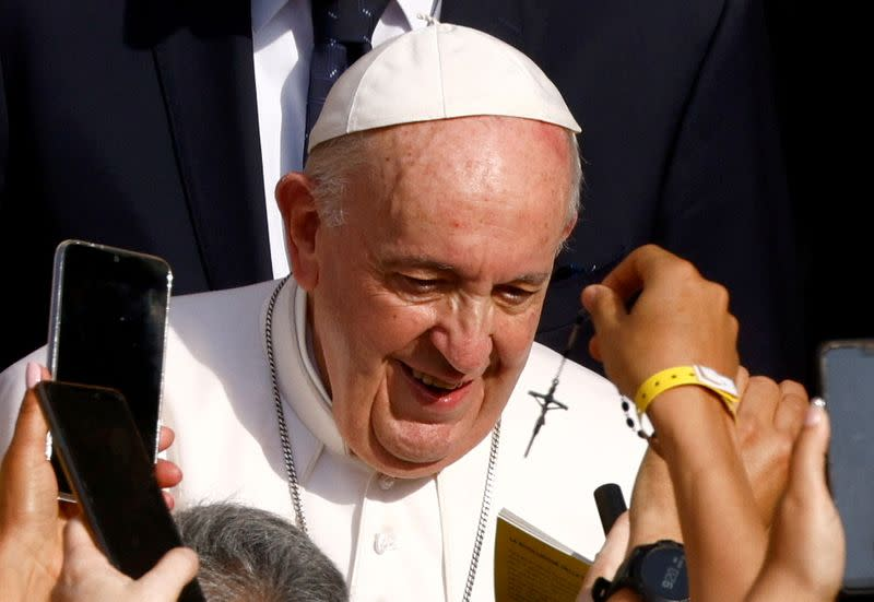 FILE PHOTO: Pope Francis holds the weekly general audience at the Vatican