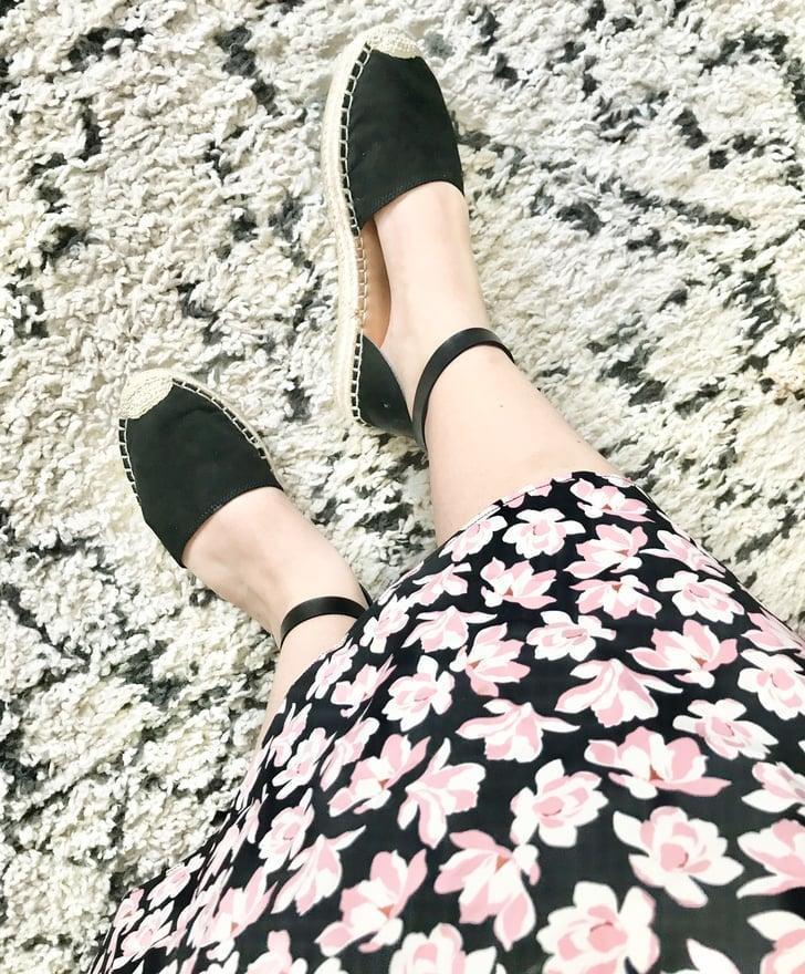 """<p><strong>The Item:</strong> <span>Old Navy Ankle-Strap Espadrilles </span> ($30, originally $35)</p> <p><strong>What our editor said:</strong> """"The soles have a squishy, bouncy texture that is next-level comfortable. Every time I go outside, I reach for these shoes instead of my sneakers."""" - MCW and Must Have<br> If you want to read more, here is the complete <a href=""""https://www.popsugar.com/fashion/most-comfortable-old-navy-espadrilles-47654779"""" class=""""link rapid-noclick-resp"""" rel=""""nofollow noopener"""" target=""""_blank"""" data-ylk=""""slk:review"""">review</a>.</p>"""