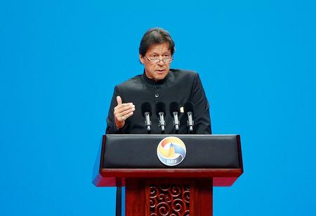 FILE PHOTO: Pakistani Prime Minister Imran Khan delivers a speech at the opening ceremony for the second Belt and Road Forum in Beijing