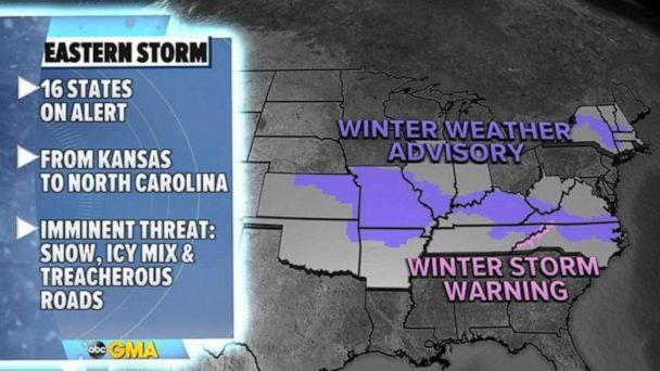 PHOTO: On Wednesday, 16 states in the East are under snow and ice alerts for heavy snow and slick roads. (ABC News)