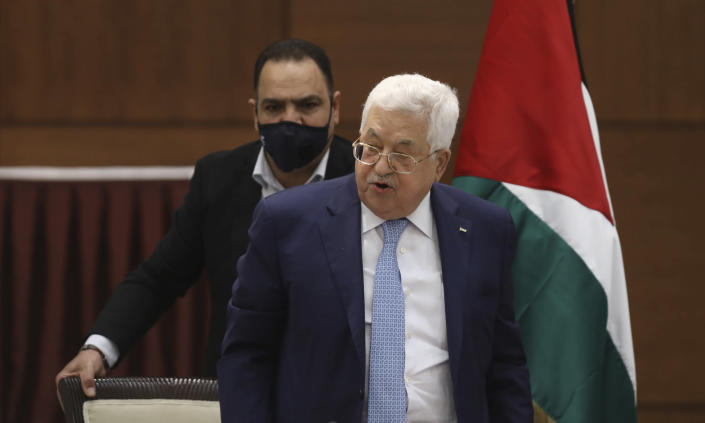 Palestinian President Mahmoud Abbas heads a leadership meeting at his headquarters in the West Bank city of Ramallah on Tuesday, May 19, 2020. (Alaa Badarneh/Pool Photo via AP)