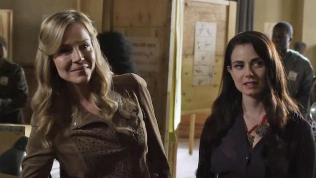 "Julie Benz as Mayor Amanda Rosewater and Mia Kirshner as Kenya in the ""Defiance"" epsiode, ""Everything Is Broken."""