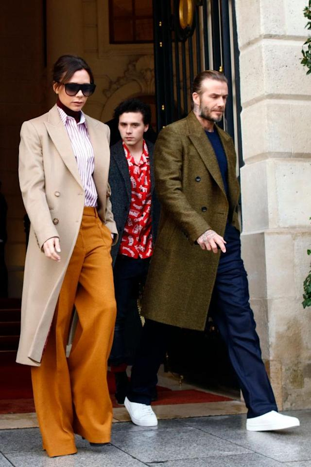 The Beckhams attend the Louis Vuitton Menswear Fall/Winter 2018-2019 show in Paris. (Getty Images)