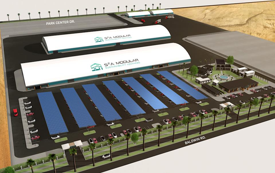 Rendering of S2A Modular manufacturing factory in California (delivery scheduled for early 2021). Provided by S2A Modular.