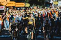"""<p><strong>Who's Winning the Tour? </strong></p><p>Surprise! After easily defending the yellow jersey in the first summit finish yesterday, Julian Alaphilippe lost it today in a sprint, of all things. That's despite finishing 16th, on the same time as stage winner Wout van Aert. And despite a comfortable (by sprint finish standards) lead of four seconds to Adam Yates, who is—checks notes—NOT a sprinter. So what gives? Some eagle-eyed commissaire spotted TV footage of Alaphilippe taking a water bottle from a roadside Deceuninck-Quick Step team staffer with 17km to go. </p><p>According to racing rules, feeds inside 20km to go are verboten, and the penalty is a 200 Swiss franc fine and a 20-second penalty. The fine? Whatever; <em>Alapanache</em> is racing wearing a <a href=""""https://www.richardmille.com/collections/rm-67-02-automatic-extra-flat"""" rel=""""nofollow noopener"""" target=""""_blank"""" data-ylk=""""slk:$120,000 luxury watch"""" class=""""link rapid-noclick-resp"""">$120,000 luxury watch</a>. But the 20-second time penalty knocks him down the standings to 16th overall. The new yellow jersey is Adam Yates of Mitchelton-Scott, who's not too pleased by the circumstances of how he took the lead, and now his team has to defend on a mountain stage.</p><p><strong>Who's <em>Really</em> Winning the Tour?</strong> </p><p>Jumbo-Visma isn't really here for stage wins, but they're so deep and strong they'll get them anyway, and not just from their yellow-jersey hopefuls like Primoz Roglič, who took yesterday's summit finish. Today it was the multi-talented Wout van Aert taking the uphill sprint at Privas from a mix of pure speedsters and all-arounders. It's van Aert's second stage win in as many Tour entries, and adds to a growing stack of wins he's racked up in only his second season on the WorldTour. With Roglič in second overall and two stage wins already, things are shaping up nicely so far for the most powerful team of 2020.</p>"""