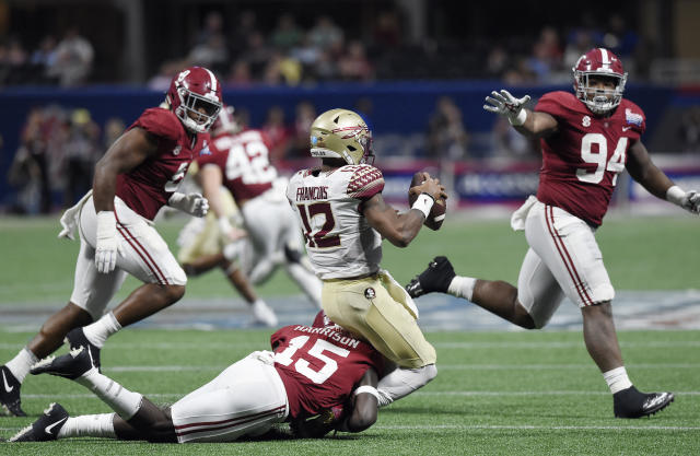 Alabama's Ronnie Harrison (15) injures Florida State QB Deondre Francois (12) early this season. (AP)