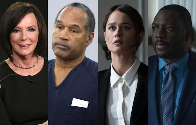 Marcia Clark, O.J. Simpson, Robin Tunney, and Adewale Akinnuoye-Agbaje. (Photo: Getty Images/ABC)