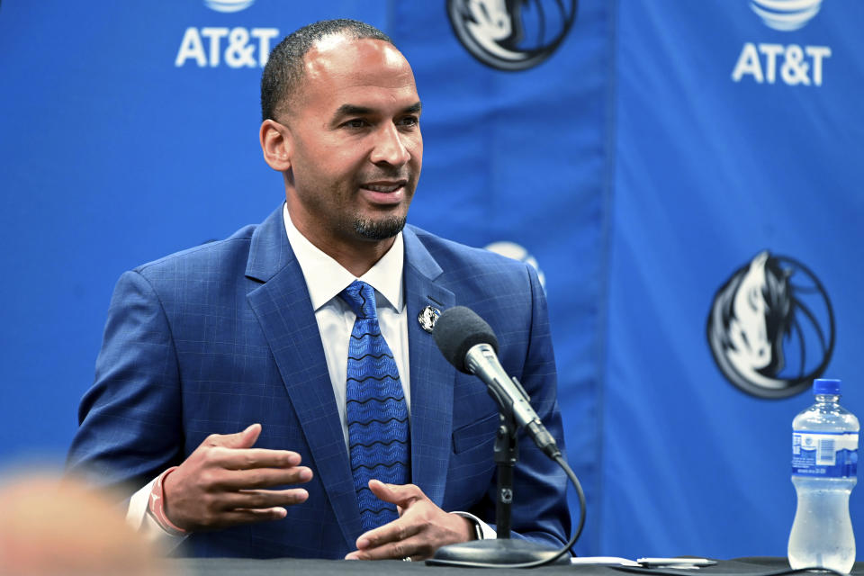FILE - In this July 15, 2021, file photo, Nico Harrison speaks in Dallas after being introduced as the Dallas Mavericks' general manager. Harrison goes into his first NBA basketball draft without a pick because of the 2019 trade for Kristaps Porzingis. Harrison isnt ruling out the possibility of Dallas ending up with a selection through another trade. (AP Photo/Matt Strasen, File)