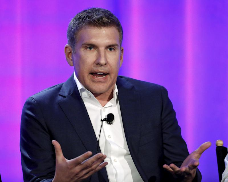 """Cast member Todd Chrisley speaks at a panel for the television series """"Chrisley Knows Best"""" during the NBCUniversal summer press day in Westlake Village, California, April 1, 2016. REUTERS/Mario Anzuoni"""