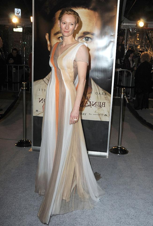 "<a href=""http://movies.yahoo.com/movie/contributor/1800021028"">Tilda Swinton</a> at the Los Angeles premiere of <a href=""http://movies.yahoo.com/movie/1809785152/info"">The Curious Case of Benjamin Button</a> - 12/08/2008"