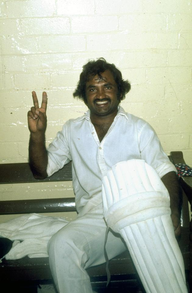 Undated:  Mushtaq Mohammad of Pakistan gives the victory sign in the dressing room after a match. \ Mandatory Credit: Allsport UK /Allsport