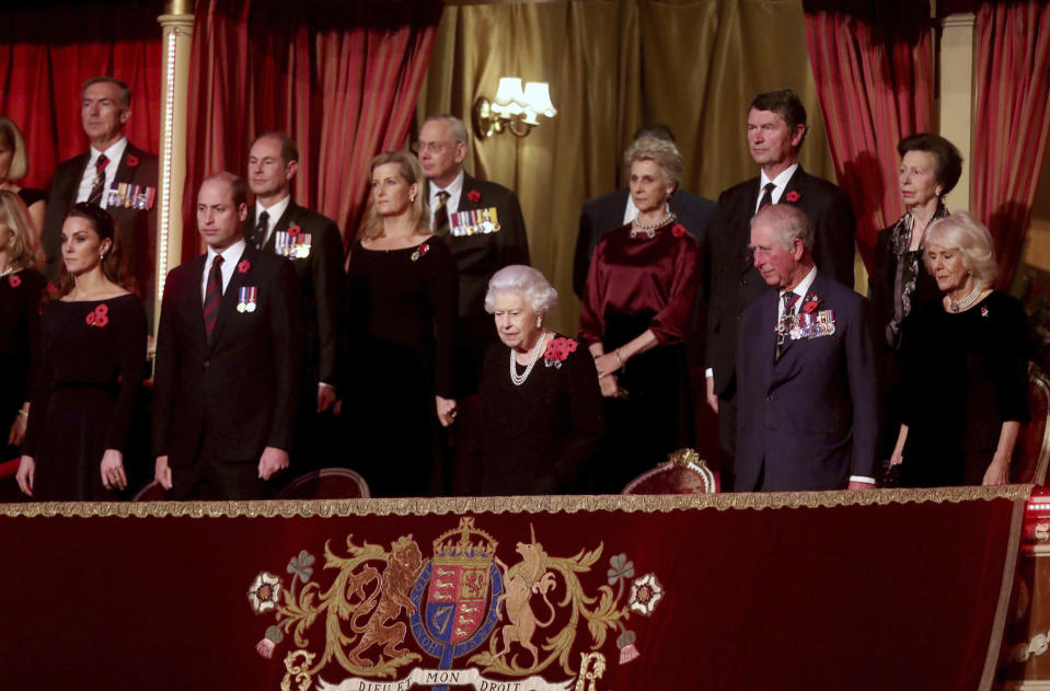 Photo by: zz/KGC-512/STAR MAX/IPx 2019 11/9/19 Members of The Royal Family attend The Royal British Legion Festival of Remembrance on November 9, 2019 at The Royal Albert Hall in London, England, UK. Here, Her Majesty Queen Elizabeth II, Charles The Prince of Wales, Camilla The Duchess of Cornwall, Prince William The Duke of Cambridge, Princess Catherine The Duchess of Cambridge, Anne The Princess Royal, Sir Timothy Laurence, Sophie The Countess of Wessex and Prince Edward The Earl of Wessex