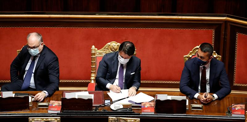 The Italian deputy Roberto Gualtieri, the Italian premier Giuseppe Conte and the Minister of Foreign Affairs Luigi Di Maio, all with protective masks in the Senate Chamber during the report on the results of the extraordinary European Council, which took place in Brussels from 17 to 21 July. Rome (Italy), July 22nd, 2020 (Photo by Massimo Di Vita/Archivio Massimo Di Vita/Mondadori Portfolio via Getty Images) (Photo: Mondadori Portfolio via Getty Images)