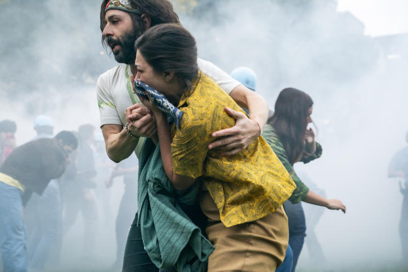 Jeremy Strong as Jerry Rubin as protesters are tear-gassed in 'The Trial of the Chicago 7'. (Credit: Niko Tavernise/Netflix)