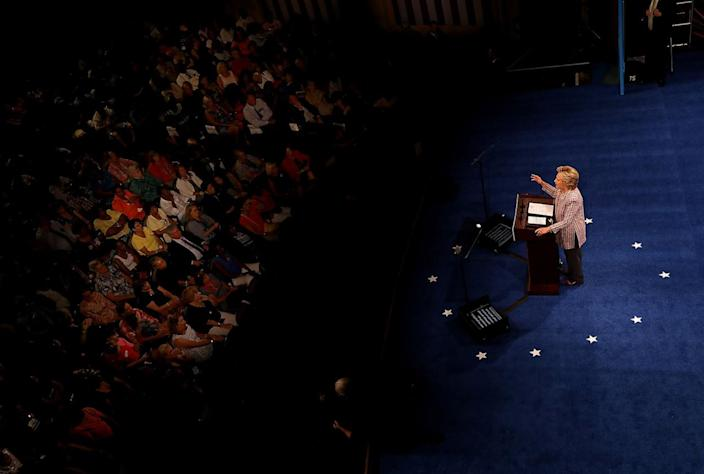 <p>Democratic presidential nominee former Secretary of State Hillary Clinton delivers a speech on national service at Sunrise Theatre on Sept. 30, 2016 in Fort Pierce, Fla. Hillary Clinton is campaigning in Florida. (Photo: Justin Sullivan/Getty Images)</p>