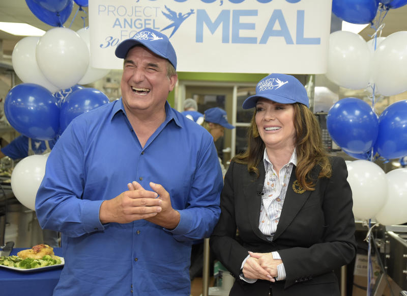LOS ANGELES, CALIFORNIA - JULY 18: Project Angel Food Executive Director Richard Ayoub and Lisa Vanderpump celebrate Project Angel Food's 12 millionth meal produced at Project Angel Food on July 18, 2019 in Los Angeles, California. (Photo by Michael Tullberg/Getty Images)