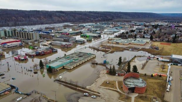 Drone shots of the Fort McMurray flooding captured on April 30, 2020.