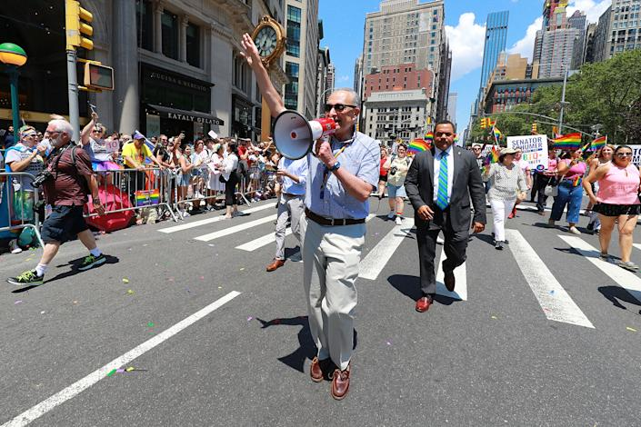 New York Senator Chuck Schumer marches in the NYC Pride Parade in New York, Sunday, June 30, 2019. (Gordon Donovan/Yahoo News)