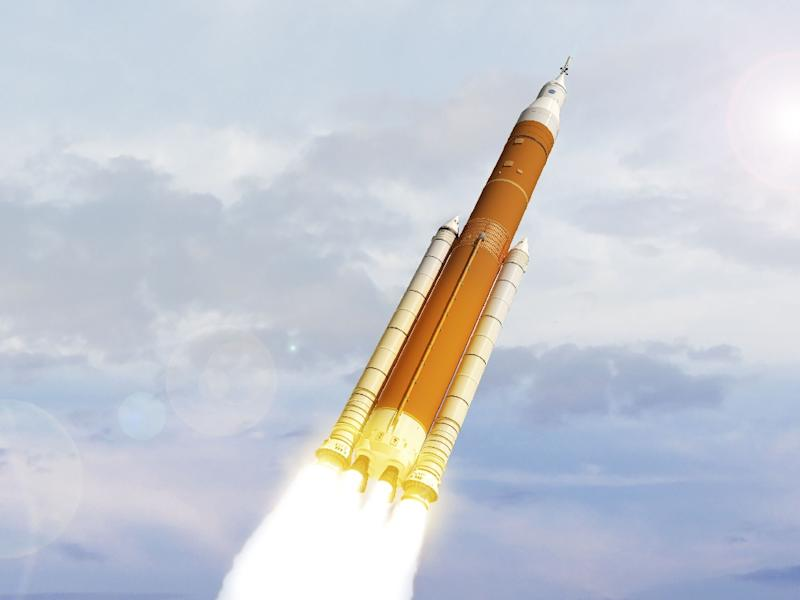 This file artist concept image from NASA shows the next generation of heavy-lift rocket the Space Launch System- which has once again been delayed
