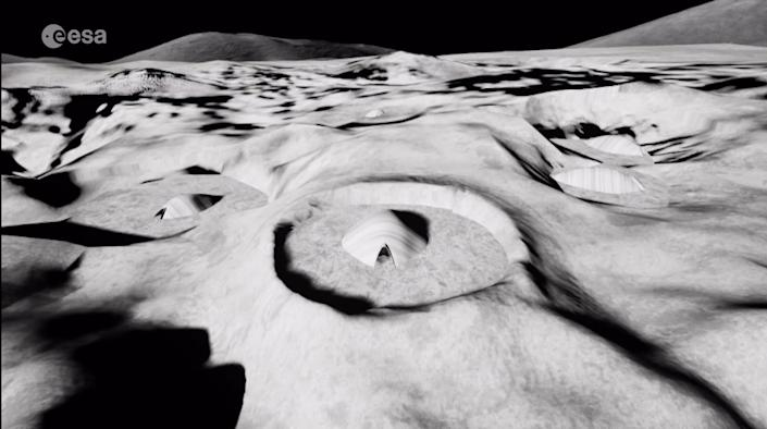 This novel concept for a moon base buried inside a lunar crater is a design by architectural engineering students at the National Technical University of Athens, Greece. The concept was developed for the European Space Agency's Moon Village Association competition in 2018. <cite>ESA</cite>