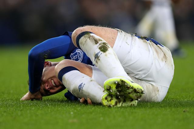 James McCarthy on the ground in pain after the incident. (Getty)