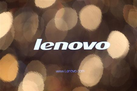 The logo of Lenovo is seen on a computer monitor during a news conference in Hong Kong