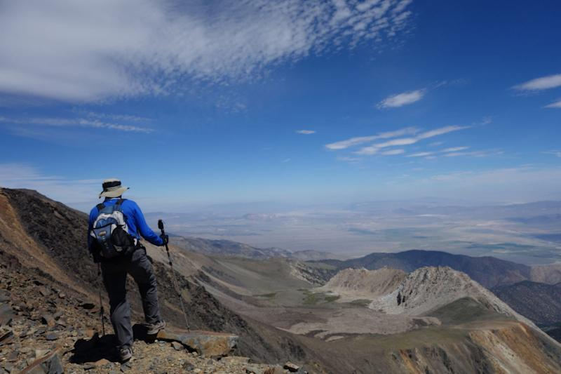 A hiker looking east at the Nevada desert from California's White Mountains in August, 2015. Sheryl Powell, 60, of Huntington Beach, Calif., went missing July 12, 2019, at the Grandview Campground in the remote, rugged range.