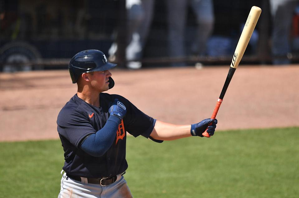 Tigers third baseman Spencer Torkelson bats in the second inning of the 1-1 tie with the New York Yankees in a spring training game on Friday, March 5, 2021, in Tampa, Florida.