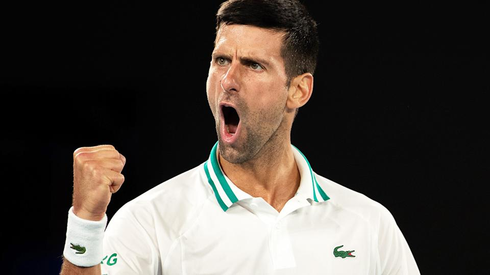 Novak Djokovic, pictured here during his semi-final clash with Aslan Karatsev at the Australian Open.