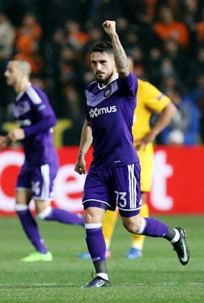 Anderlecht's midfielder Nicolae Stanciu celebrates scoring during the Europa League on March 9, 2017