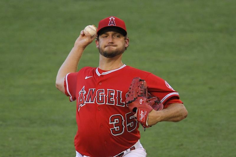 Los Angeles Angels starting pitcher Matt Andriese throws to the plate during the first inning of a baseball game against the Houston Astros Friday, July 31, 2020, in Anaheim, Calif. (AP Photo/Mark J. Terrill)