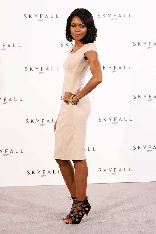 """<a href=""""http://movies.yahoo.com/movie/contributor/1808446902"""">Naomie Harris</a> attends a photocall with cast and filmmakers to mark the start of production which is due to commence on the 23rd Bond Film and announce the title of the film as """"Skyfall"""" on November 3, 2011 in London."""