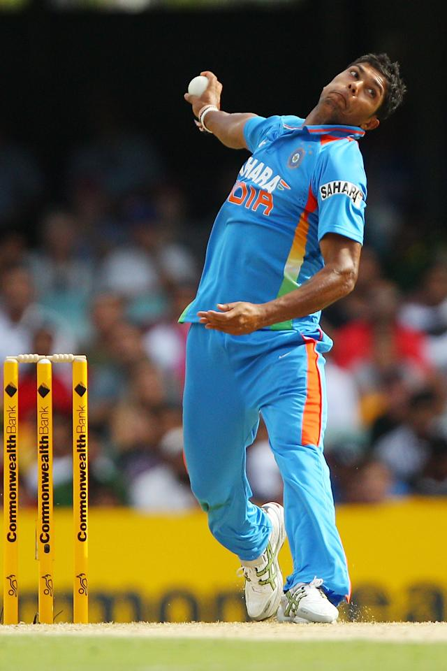 BRISBANE, AUSTRALIA - FEBRUARY 19:  Umesh Yadav of India bowls during game seven of the One Day International series between Australia and India at The Gabba on February 19, 2012 in Brisbane, Australia.  (Photo by Chris Hyde/Getty Images)