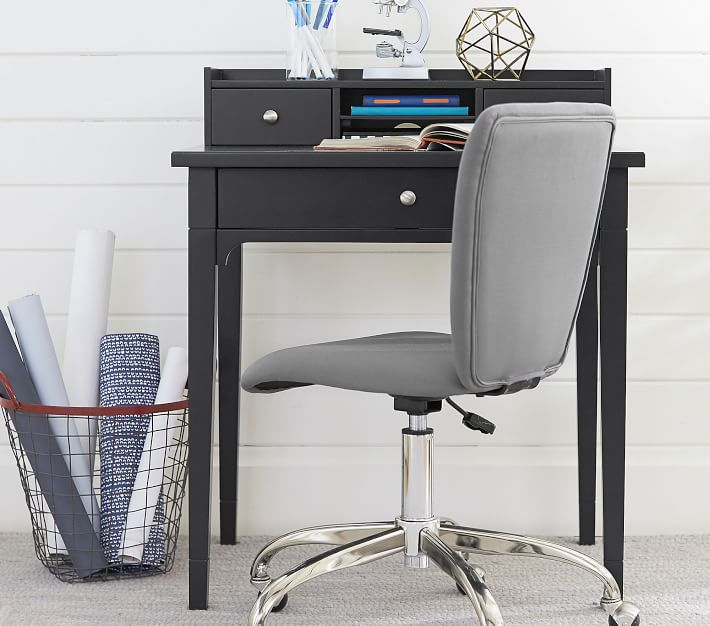 "<h2>PB Kids Morgan Simple Desk & Hutch</h2><br>A savvy small-space furniture hack? Shop the kids' section. This compact three-drawer desk in a universal gray hue is just as stylish (if not more) than its made-for-adult counterparts — just make sure the height measurements will fit your grown-up proportions!<br><br><strong>Pottery Barn Kids</strong> Morgan Simple Desk & Hutch, $, available at <a href=""https://go.skimresources.com/?id=30283X879131&url=https%3A%2F%2Fwww.potterybarnkids.com%2Fproducts%2Fmorgan-simple-desk-hutch"" rel=""nofollow noopener"" target=""_blank"" data-ylk=""slk:Pottery Barn Kids"" class=""link rapid-noclick-resp"">Pottery Barn Kids</a>"