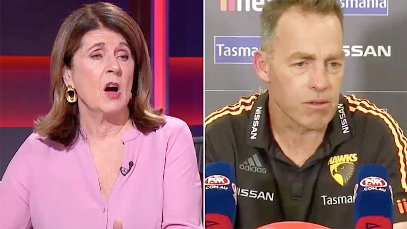 Seen here, AFL journalist Caroline Wilson and Hawthorn coach Alastair Clarkson.