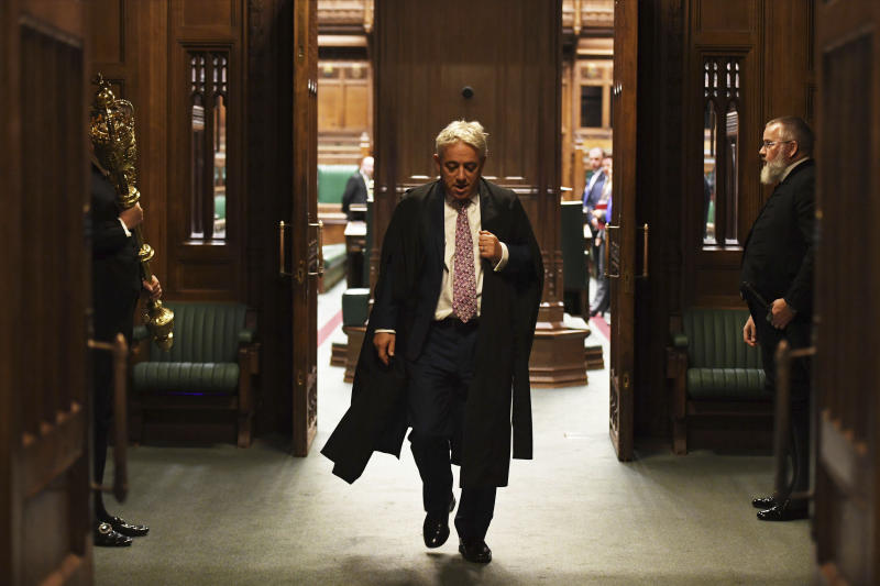 In this photo released by the UK Parliament, Speaker of the House of Commons John Bercow gestures during his final day in the Chair in the House of Commons, in London, Thursday, Oct. 31, 2019. The speaker of Britain's House of Commons, who has become a global celebrity and online meme-magnet for his loud ties, even louder voice and star turn at the center of Britain's Brexit drama, stepped down on Thursday after 10 years in the job. (UK Parliament/Jessica Taylor via AP)