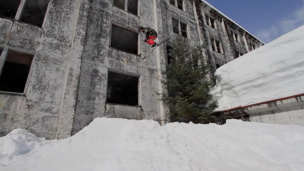 PIC FROM CATERS NEWS - (PICTURED; Logan Imlach jumping out of the building) Most people prefer to ski on big snowy slopes, but as this jaw dropping video shows, Logan Imlach is no ordinary Skiier. Shot in Alaska by native Matt Wild, the two minute clip shows Logan skiing through a five floor tower block navigating the winding staircases and even jumping out of windows. Both Matt and Logan work in an oil field, where they work the same three week shift. SEE CATERS COPY.
