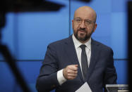 European Council President Charles Michel takes part in the online Munich Security Conference from the European Council building in Brussels, Friday, Feb. 19, 2021. (Olivier Hoslet, Pool via AP)