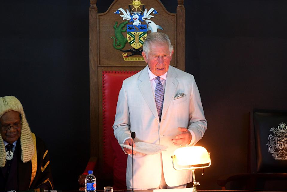 HONIARA, GUADALCANAL ISLAND, SOLOMON ISLANDS - NOVEMBER 25:  Prince Charles, Prince of Wales address the National Parliament of the Solomon Islands at Parliament House during day three of the royal visit to the Solomon Islands on November 25, 2019 in Honiara, Guadalcanal Island, Solomon Islands. The Prince of Wales and Duchess of Cornwall just finished a tour of New Zealand. It was their third joint visit to New Zealand and first in four years. The Prince is currently on a solo three day tour of The Solomon Islands. (Photo by  Victoria Jones - Pool/Getty Images)